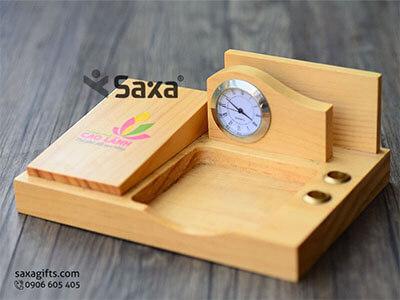 Quà tặng để bàn in logo 5in1 tích hợp nhiều quà tặng gỗ độc đáo