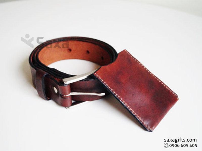 Bộ đôi ví da đựng namecard + thắt lưng da cho nam giới