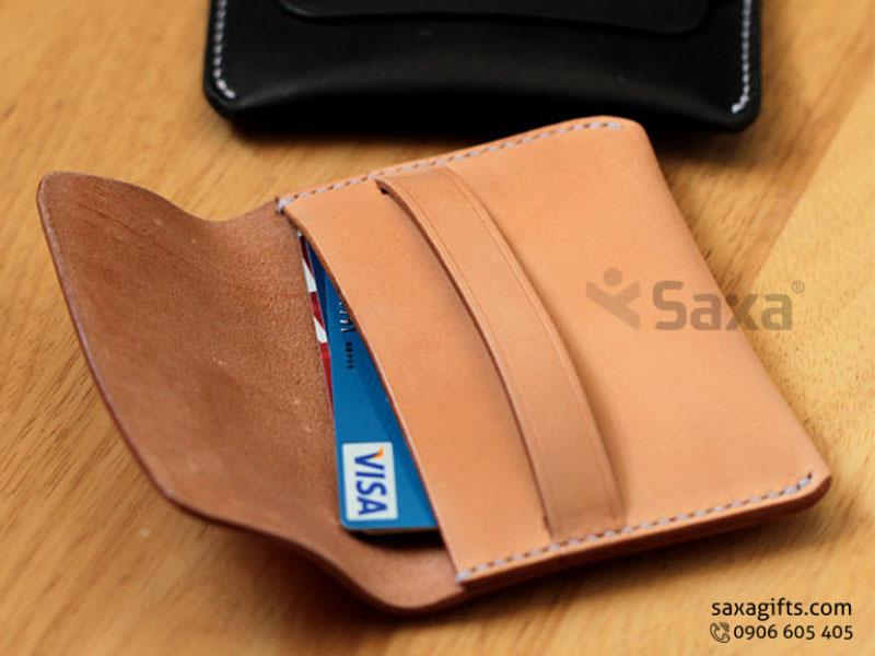 Ví da in logo đựng thẻ ATM – Kiểu dáng nhỏ gọn, có giắc cài