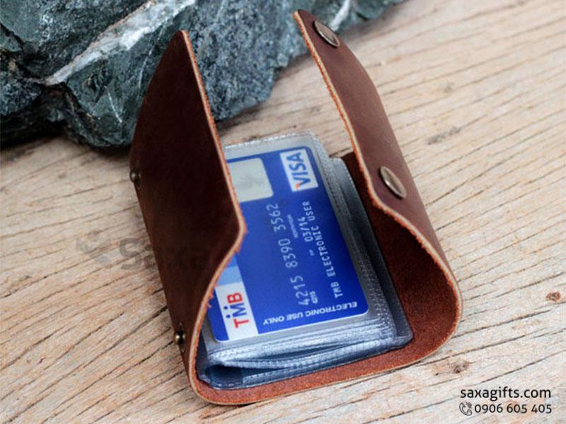 Ví da in logo đựng thẻ ATM – Kiểu dáng nhỏ gọn, có nút bấm
