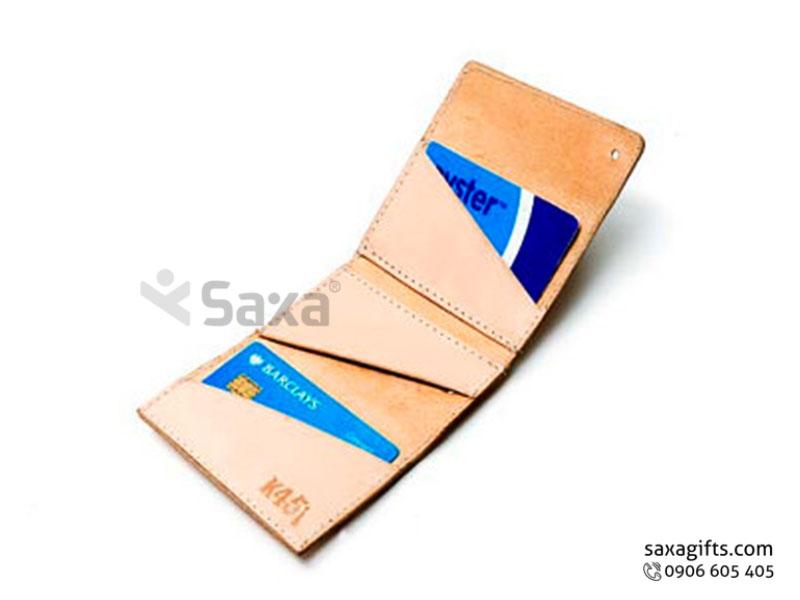 Ví da in logo đựng thẻ ATM – Kiểu nắp xéo, nút bấm độc đáo