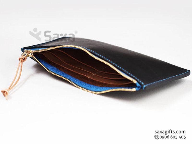 Ví da in logo đựng tiền – Kiểu ví dài cầm tay, dây khóa kéo