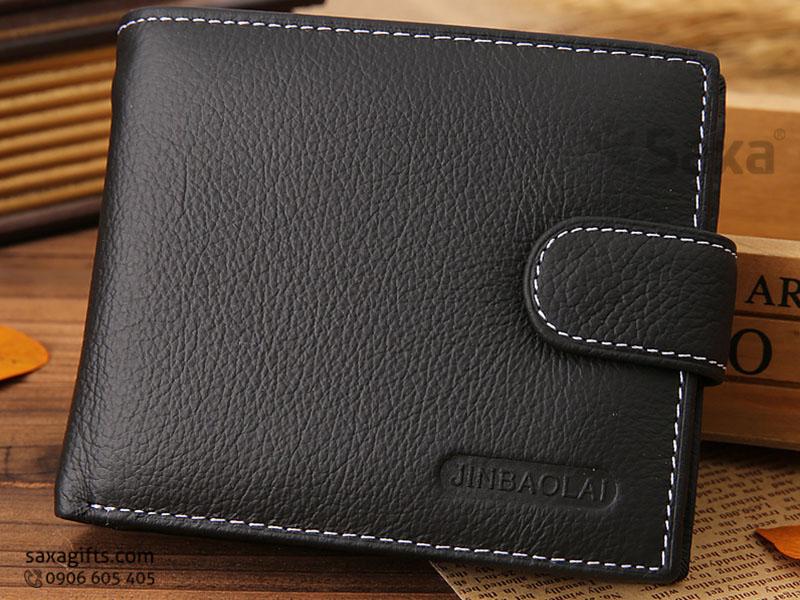 Ví da in logo cho nam – Kiểu ví đựng tiền màu đen, có nút bấm