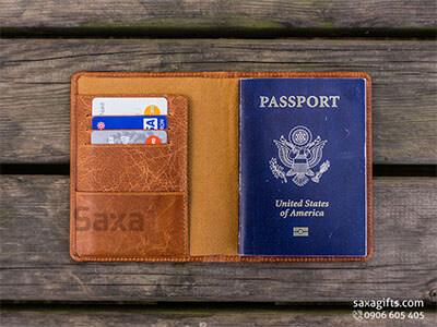 Ví passport da thật, kiểu gấp đôi 3 ngăn ví mổ