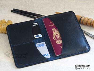 Ví passport da thật kiểu gấp đôi, có 3 ngăn đơn giản
