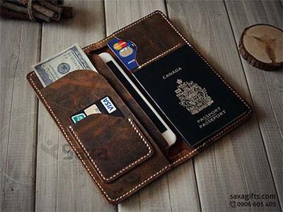 Ví passport da thật form dài, kiểu ví da đắp, may mép rất vintage