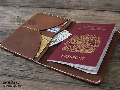 Ví passport da thật kiểu gấp đôi, da nguyên tấm sang trọng