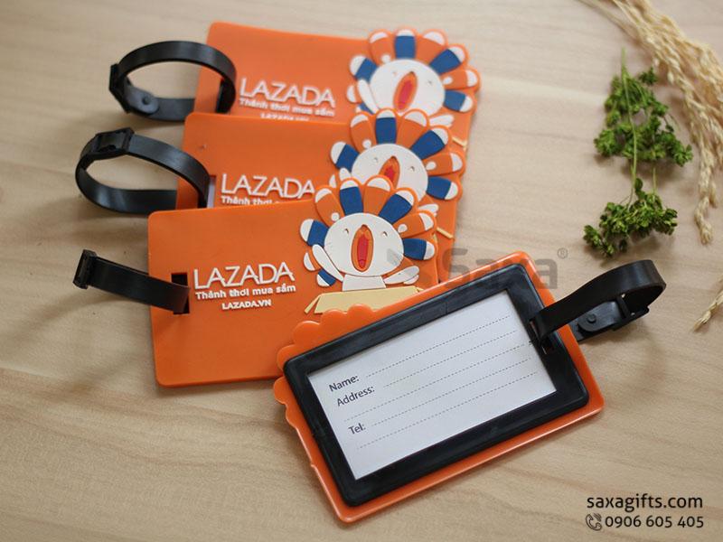 Thẻ đeo vali hành lý bằng cao su in logo theo mẫu Lazada