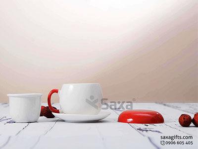 Bộ Ly trà gốm sứ Bát Tràng có nắp + khay lọc + dĩa, dung tích 180ml