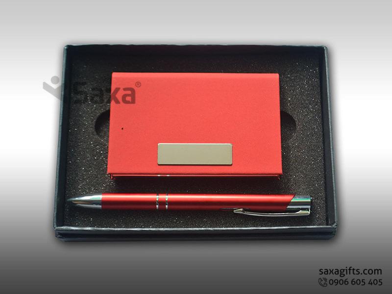 Bộ quà tặng giftset: Bút ký + Hộp namecard đựng trong hộp mỹ thuật