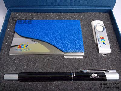 Bộ quà tặng giftset: Bút ký + Hộp namecard + Usb xoay in logo SCTV