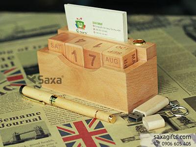 Bộ quà tặng để bàn bằng gỗ 3 in 1 + Bút ký gỗ đẹp, độc đáo và nhỏ gọn