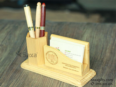 Bộ quà tặng để bàn bằng gỗ 2in1 + Bút ký gỗ nhỏ gọn và tiện dụng