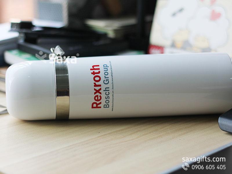 Bình giữ nhiệt in logo Rexroth - Thương hiệu Carlmann màu trắng