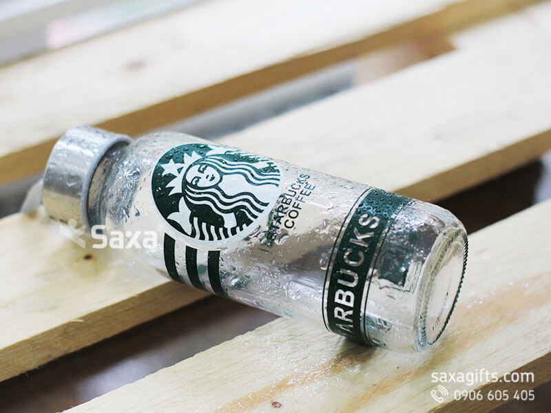Bình nước thuỷ tinh nắp rờiin logo Starbucks
