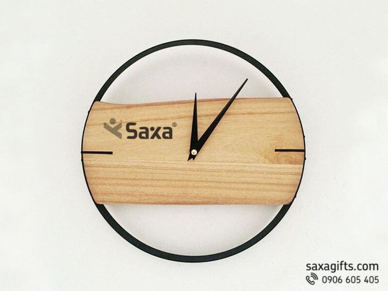 Đồng hồ gỗ quà tặng - khung tròn phối gỗ thanh lịch