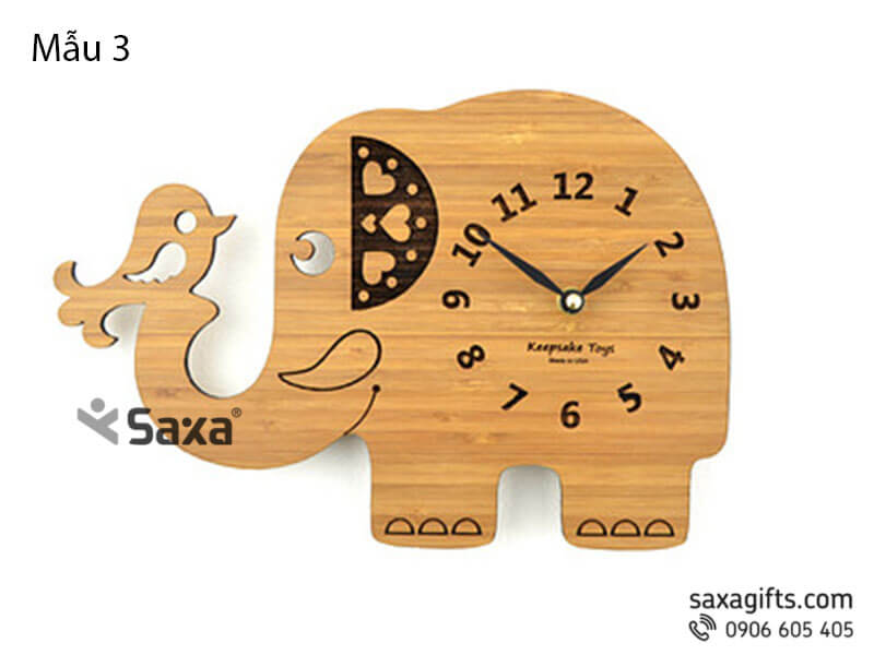 Đồng hồ gỗ quà tặng – Hình chú voi ngộ nghĩnh.