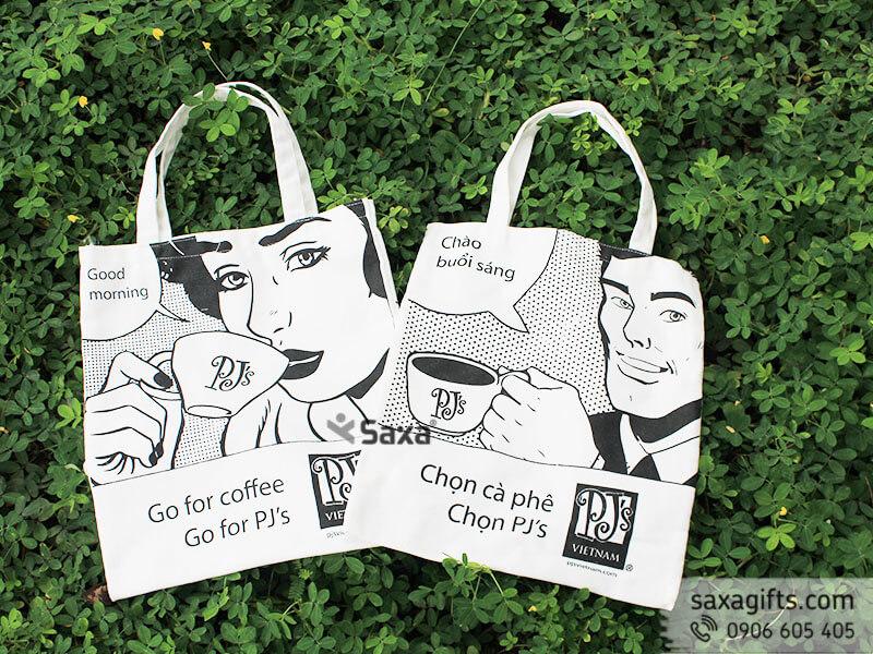 Túi xách vảicanvas in logo PJ's Việt Nam