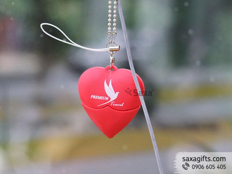 Usb cao su đổ khuôn 2d hình trái tim của công ty Premium Travel