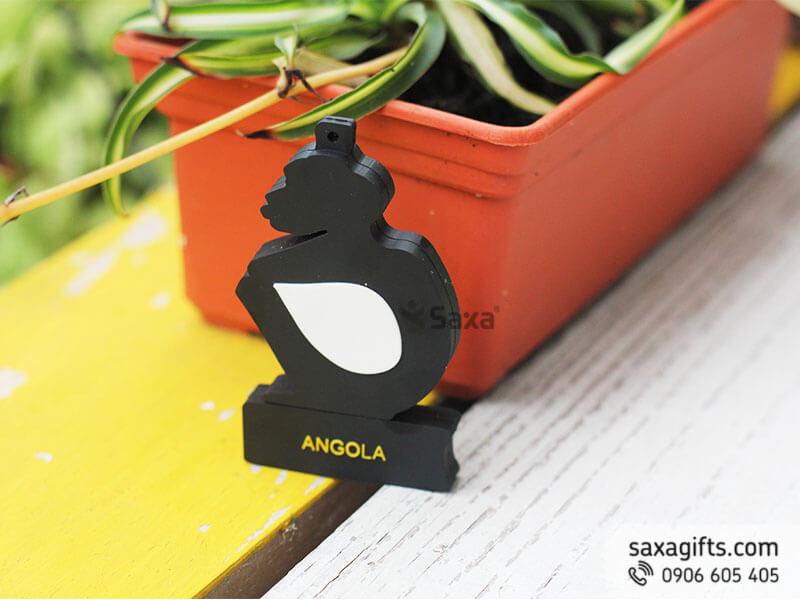 Usb cao su 2d nắp rời, đổ khuôn biểu trưng logo Angola