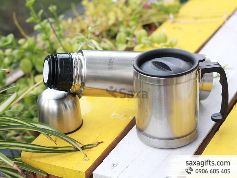 Bộ quà tặng: Bình giữ nhiệt Mega + Ca giữ nhiệt inox có quai