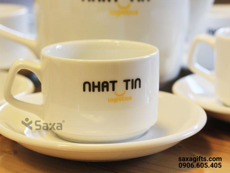 Bộ ấm trà gốm sứ Minh Long – In logo Nhất Tín
