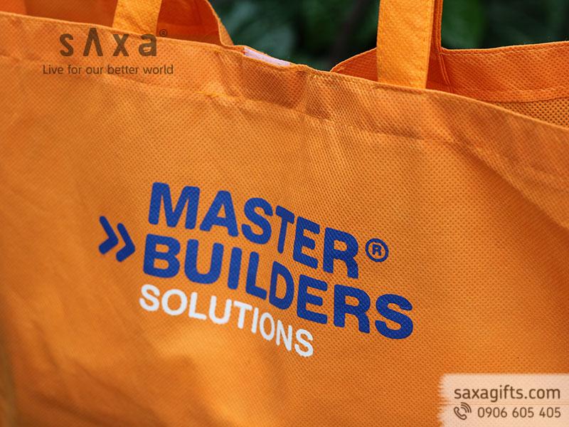 Túi vải không dệt có hông với miệng túi có xé dán in logo BASF