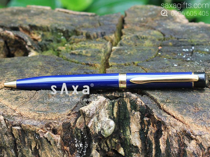 Bút ký kim loại có giắt bút mạ màu vàng thân màu xanh kiểu xoay