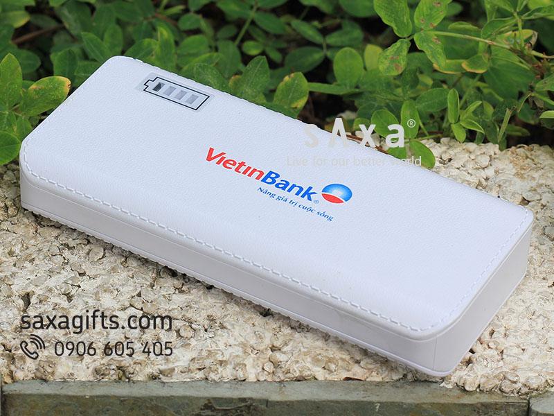 Pin sạc có đèn led hiển thị dung lượng pin in logo VietinBank