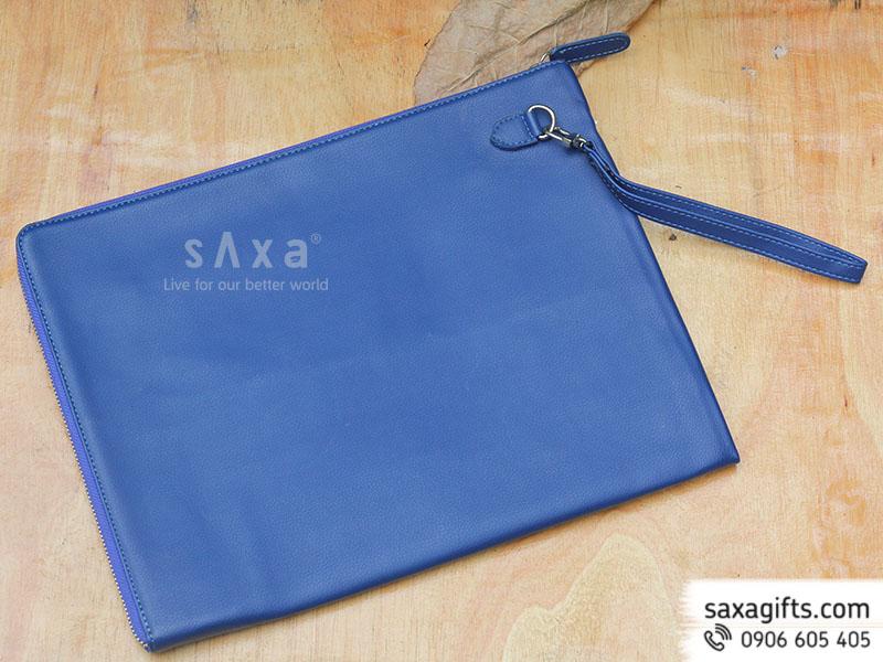Túi hồ sơ cầm tay bằng chất liệu simili xanh dương có dây xách