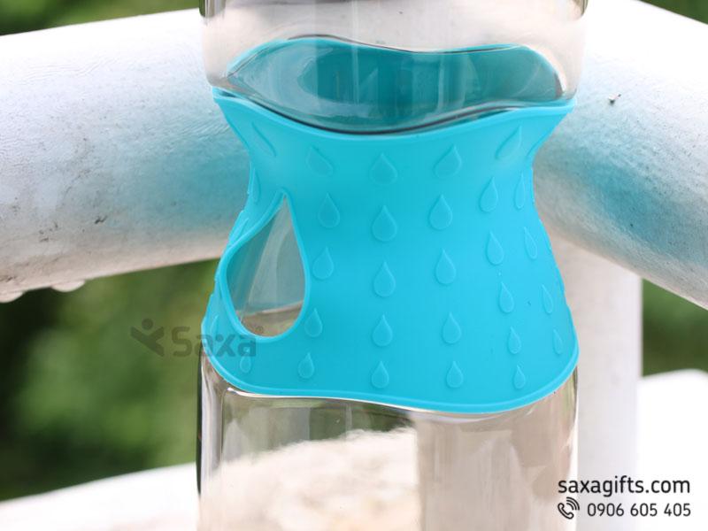 Bình nước thể thao nắp bật thân phối su hình giọt nước