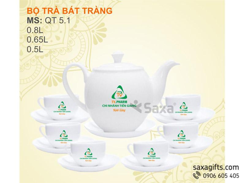 Bộ ấm trà gốm sứ Bát Tràng Dáng Minh Long – Mẫu 1