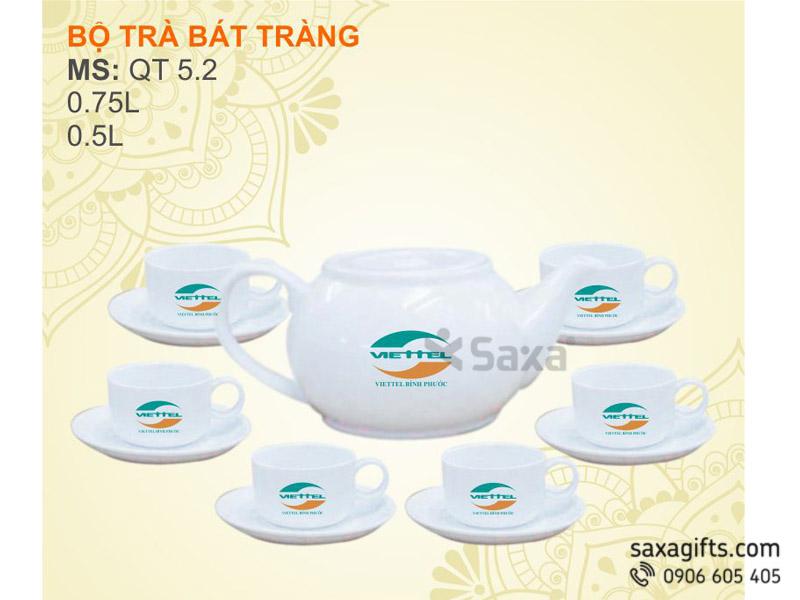 Bộ ấm trà gốm sứ Bát Tràng CK Lõm – Mẫu 2