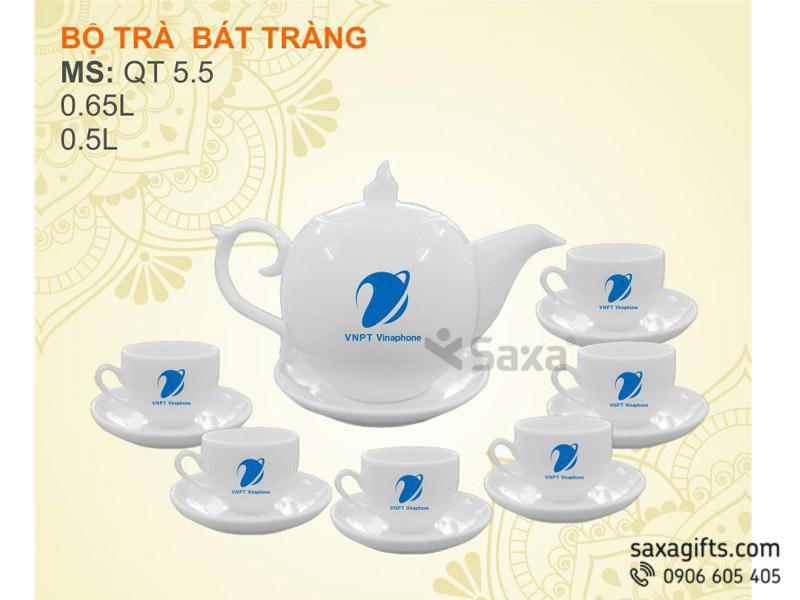 Bộ ấm trà gốm sứ Bát Tràng CK Lõm