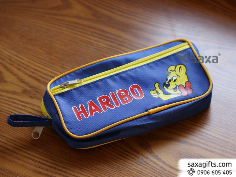 Bóp đựng viết bằng vải dùphối màu in logo Haribo