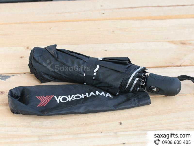 Dù cầm tay gấp ba 1 chiều, 10 múi in logo Yokohama