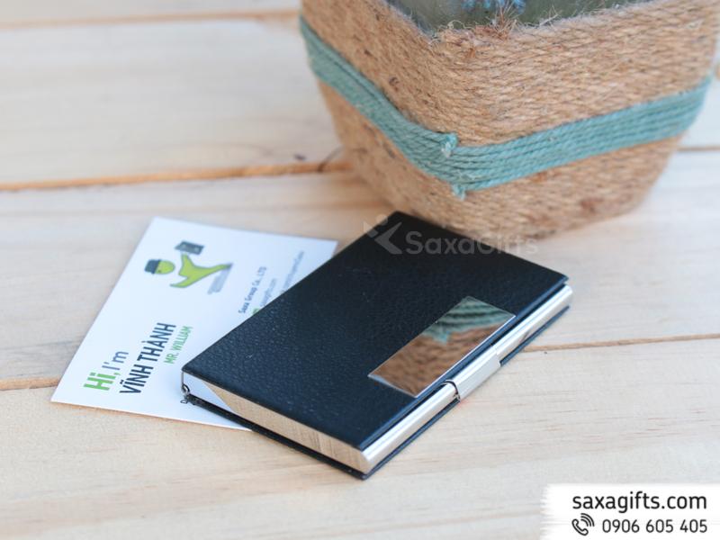 Hộp namecard kim loại phối simili vuông vức