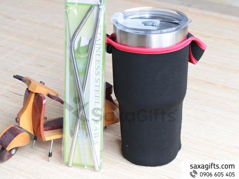 Ly giữ nhiệt dung tích lớn 900ml – Tặng kèm bộ ống hút, túi xách