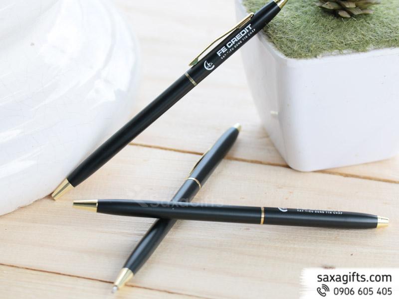 Bút ký kim loại kiểu xoay, form nhỏ màu đen nhám