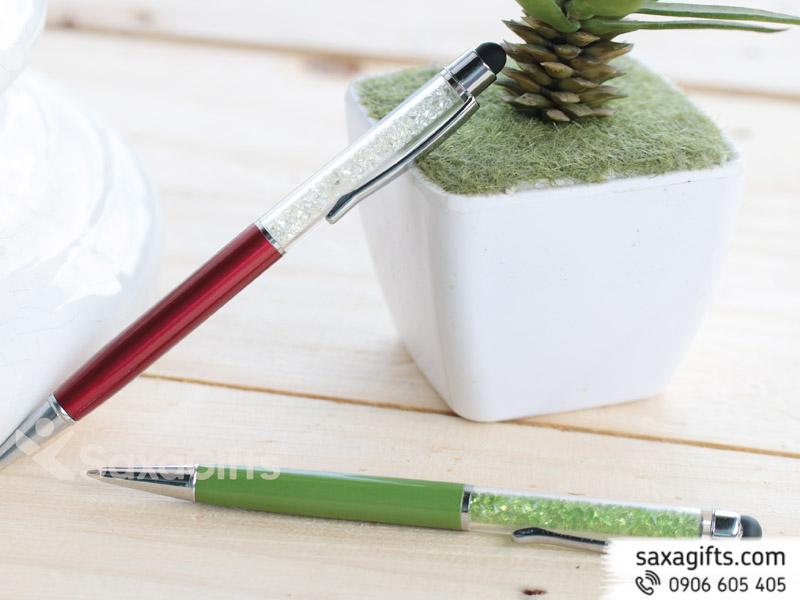 Bút kim loại xoay, đầu cảm ứng, thân rỗng phối hạt độc đáo