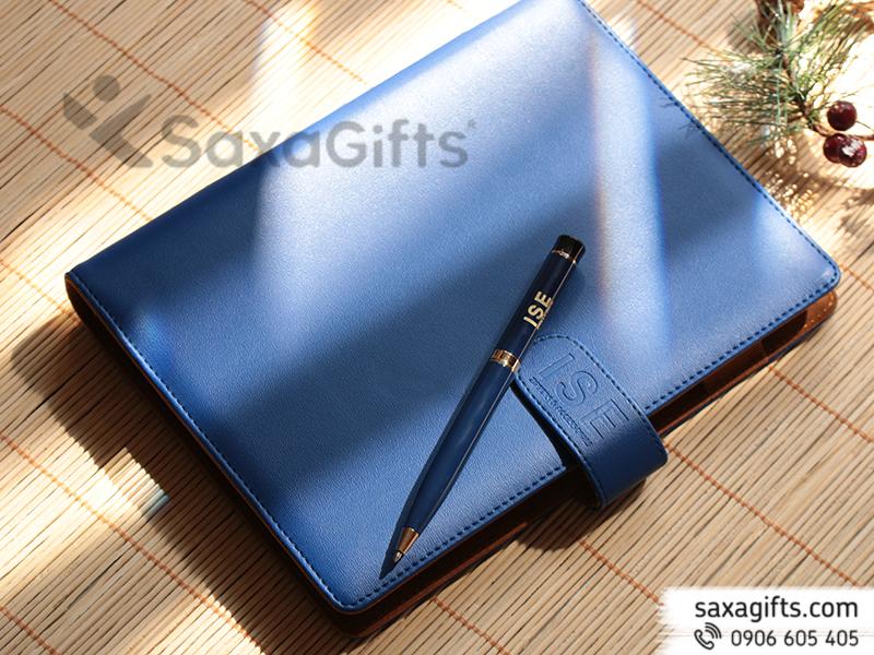 Bộ quà tặng (giftset): sổ da + bút kim loại - In logo ISE