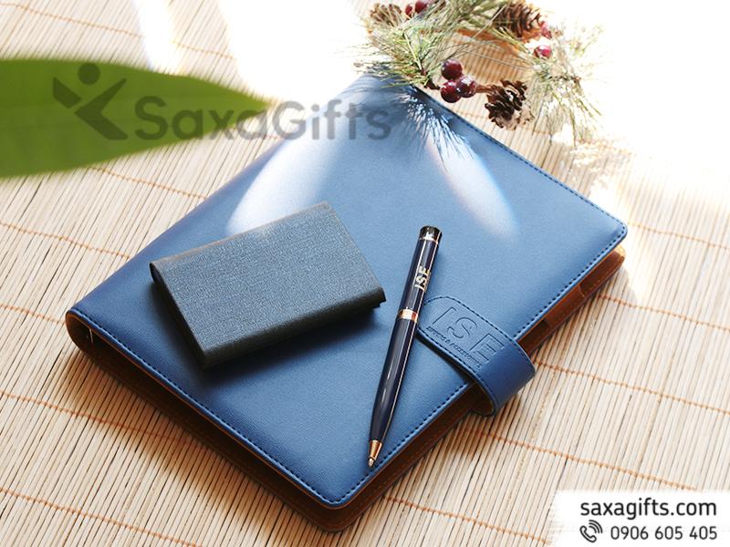 Bộ quà tặng (giftset): sổ da + bút kim loại + Hộp Namecard - In logo ISE