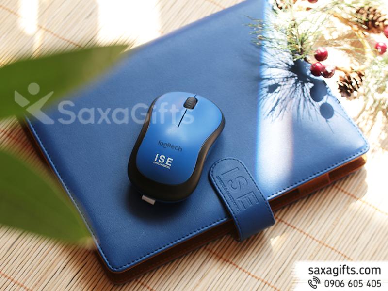 Bộ quà tặng 2 món: Sổ, Chuột Bluetooth - In logo ISE