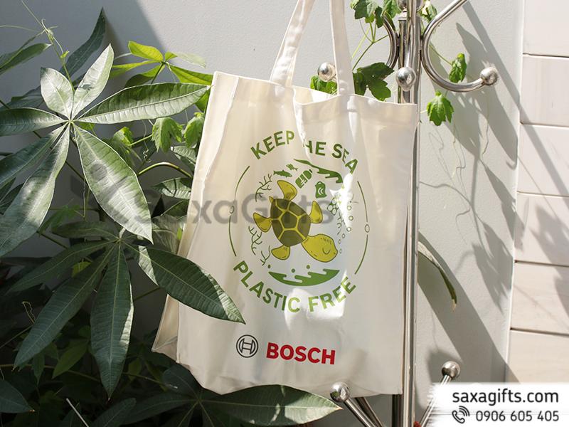 Túi xách vải canvas – In logo Bosch, dạng túi hộp