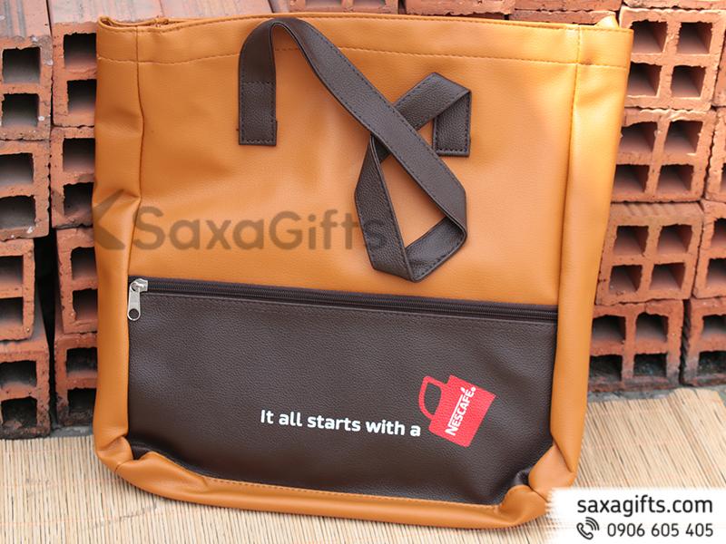 Túi xách da phối màu in logo Nescafe