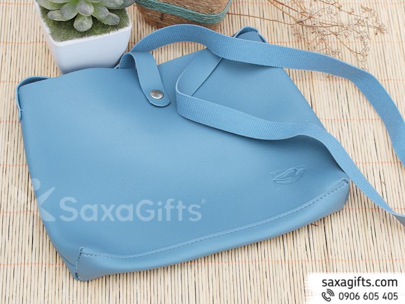 Túi xách da đeo chéo thời trang màu xanh