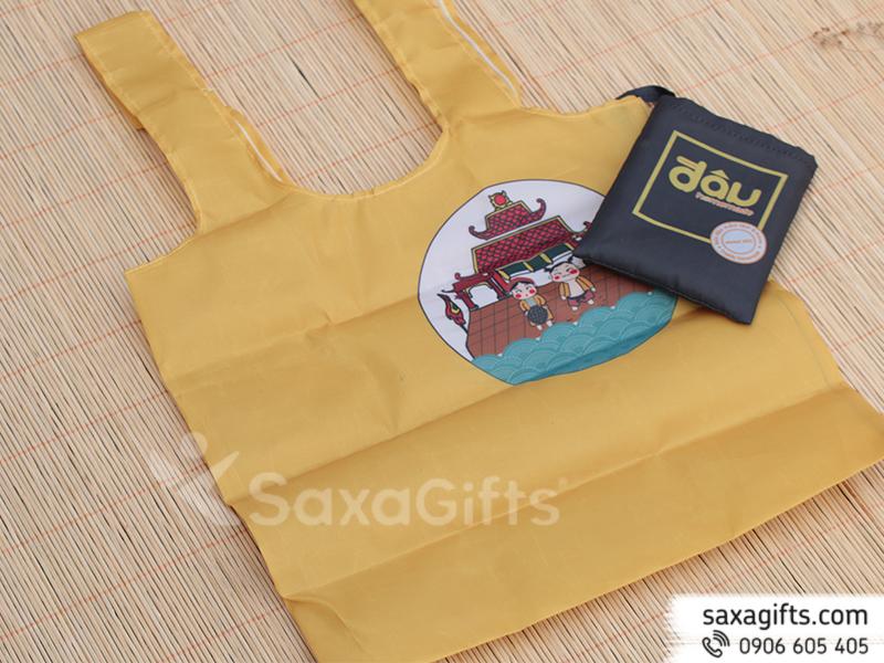 Túi vải dù mỏng xếp gọn – In logo Đậu Homestay
