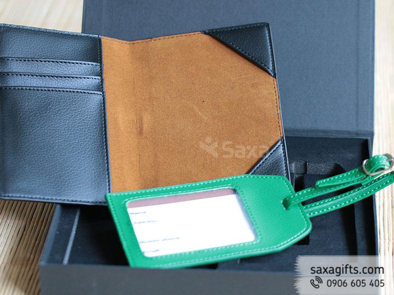 Bộ quà tặng in logo bằng da: ví passport, thẻ hành lý