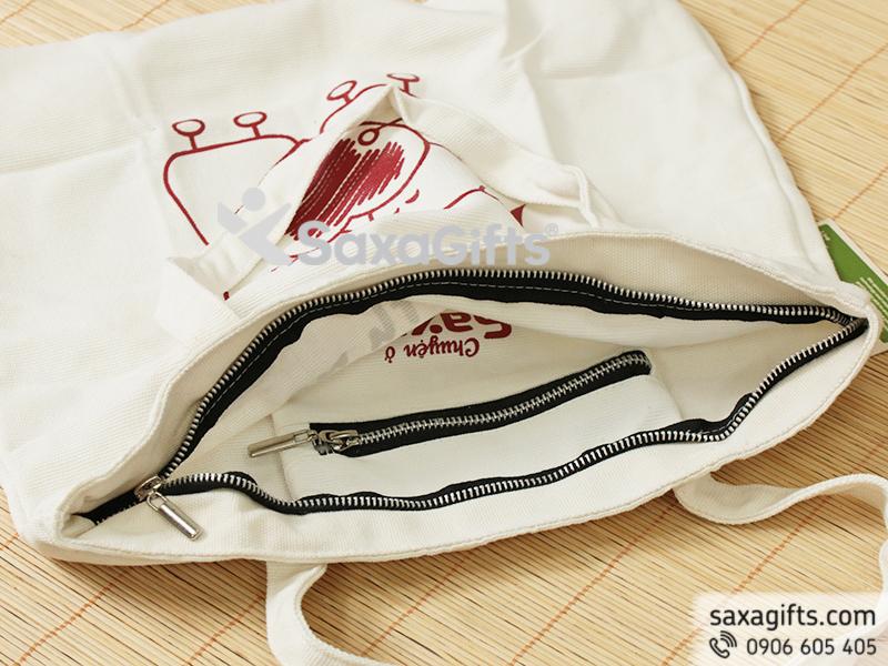 Túi vải canvas có dây kéo kim loại in logo