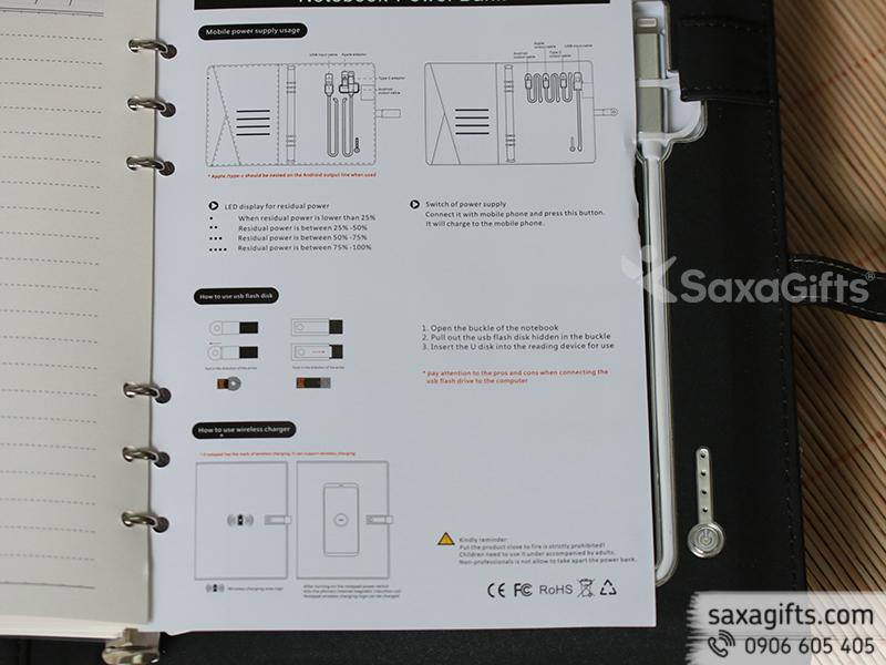 Quà 4 in 1 tích hợp sổ da, sạc không dây, sạc dự phòng và USB